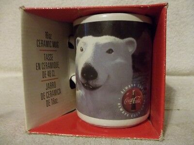1997 Coca-Cola Polar Bear 16 ounce Ceramic Mug In Box
