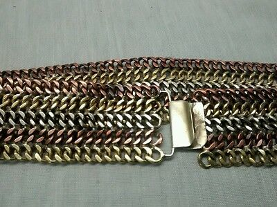 Rare vtg. Taxco Mexico   sterling copper brass woven wide belt