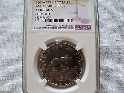"Germany Taler 1862A  ""Anhalt-Bernburg"" silver coin NGC XF DETAILS"