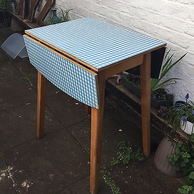 Vintage Retro Formica Drop Side Table Gingham Blue White Wooden 1950/60s