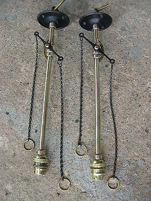 Pair Brass Gas Lamp Light, Pendants Converted Electric, Working, Original Taps
