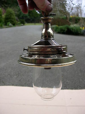 Spare Inverted Mantle Gas Lamp Burner With Bead Fringe Carrier & Glass Protector