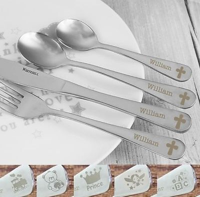 Personalised Engraved Childrens Cutlery 4 Piece Set Christening Boys Girls Gifts