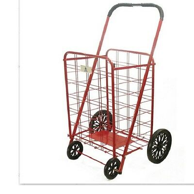 Red Shopping Cart on Wheels Folding Large Heavy Metal Grocery Laundry Basket
