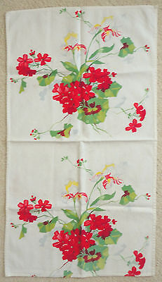 "Vintage Kitchen Towel/mat With Red & Green Geranium & Iris Design    16"" X 29"""