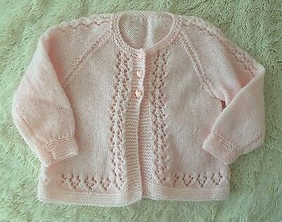 3-6 Months Baby Girls Pink Hand Knitted Cardigan Jacket EUC