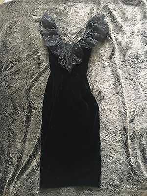 Vintage 70s 80s Black Velvet Puffy Lace Shoulders Party Prom Dress AS IS