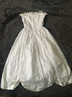 Vintage 80s Madonna Prom Party Wedding Strapless Lace Full Skirt Formal Dress