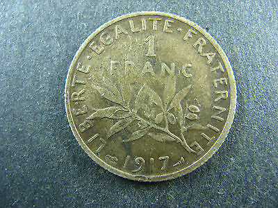 1 franc 1917 France KM#844.1 silver coin 1f