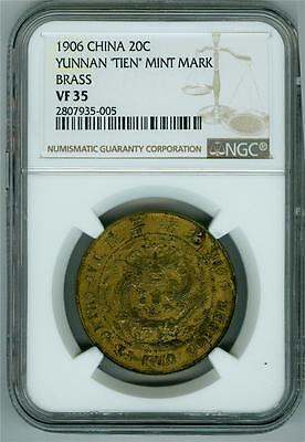 "China/yunnan 1906 20 Cents Dragon Brass ""tien"" Mint Mark Ngc Vf-35 Scarce Type"