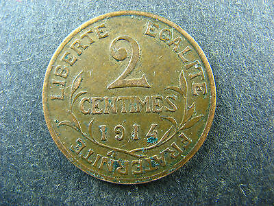 2 centimes 1914 France KM#841 bronze coin 2c cents