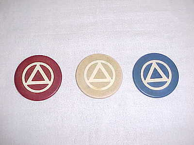 Alcoholics Anonymous Aa Chip Coin Medallion Vintage Set Of 3