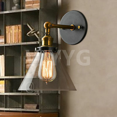 MODERN INDUSTRIAL GLASS SHADE EDISON WALL SCONCE LIGHT WALL LAMP Lounge ANTIQUE