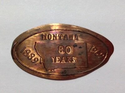 Montana 80 Years 1889 -1969 On A 1969D Copper Lincoln Cent --LW