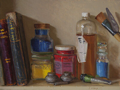 Original oil painting art materials old books still life realism 12x9 in, Y Wang