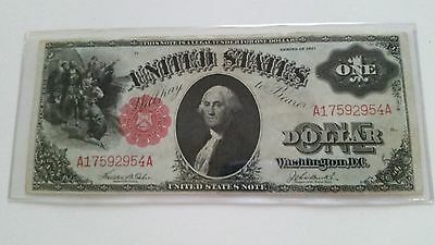 1917 $1 Dollar Bill Red Seal US Currency Large size Note
