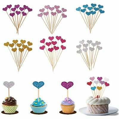 10Pcs Wedding Cupcake Toppers Decor Love Heart Inserted Card Cake Decoration