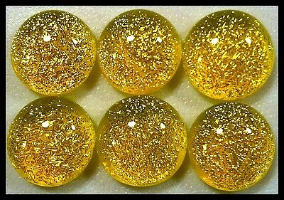 TWINKLE Round SUNSHINE YELLOW Fused Glass DICHROIC Cabochons NO HOLE Beads