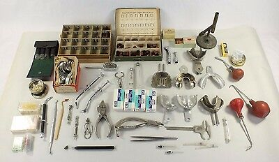 Lot of Old Vintage Dental Dentistry Tools Supplies Collection Syringes Crowns