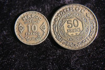 Morocco 10 & 50 Francs 1952 AH1371  Old Coin F