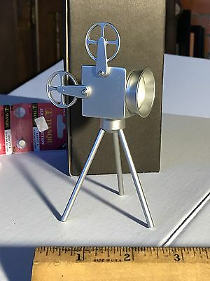 "Sanis Silver Movie Projector Desk Clock Executive Toy 5-6"" Tall"