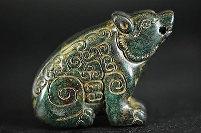 Unique China Old jade Hand Carved bear statue  JP237