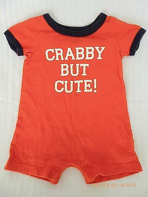 Baby 6 Months Crabby But Cute Carter's Romper One Piece Bodysuit