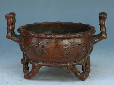 Chinese Exquisite hand-carved Leaves carving copper incense burner