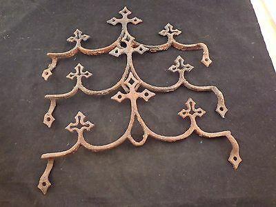 3 Vintage Antique Cast Wrought Iron Fence & Gate Gothic Cross Chic Finials 3 Pcs