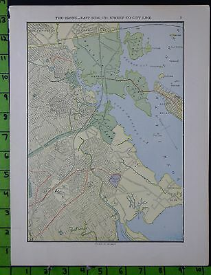 New York The Bronx East Side Map Antique Street Map 1906 10x13
