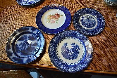 Lot of 4 Antique~ Early Victorian ~ 1800's Flow Blue Plates England Dif Makers