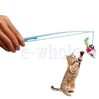 Fake Mouse Entwined Pet Cat Animals Jeu Feather Bell Interactive Fun Toy KK