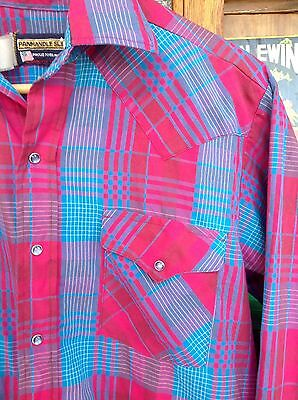 ORIGINAL VINTAGE USA Pink & Blue COWBOY WESTERN Check SHIRT L Rockabilly RETRO