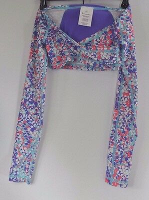 Iviva Girls' Lululemon Long Sleeve Crop Top Wrap Shrug 6 Warm Up Purple Pink