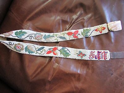 Antique Native American Belt (fine lazy stitched florals, tiny old trade beads )