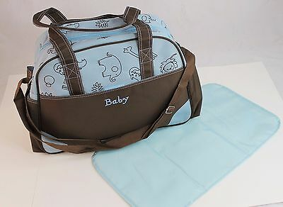 Blue Larger Baby Diaper Nappy Changing mat Mommy Tote Handbag Bag US Seller B1