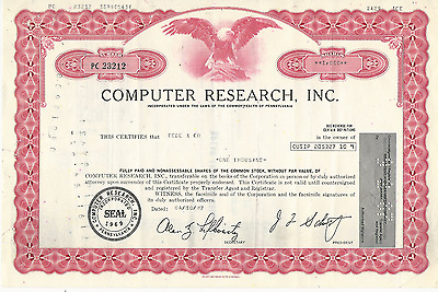 1987 COMPUTER RESEARCH INC Stock Certificate PENNSYLVANIA Pays cancer bills