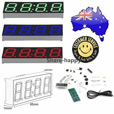 New 4-digit DIY Digital LED Clock Kit Light Control with Transparent Case ON