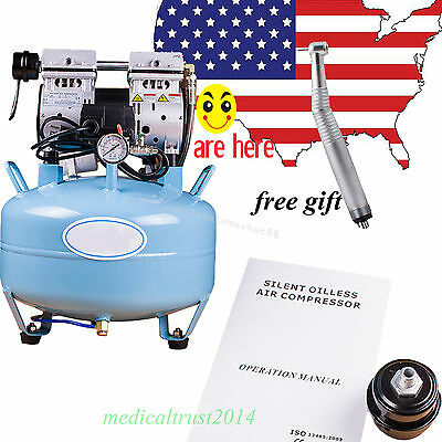 US SALE!  Dental Medical silent Noiseless Oil fume Oilless Air Compressor 30L