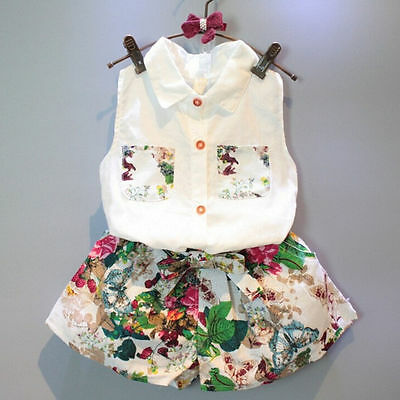 2PCS Kids Toddler Baby Girls Outfits White Shirt Tops + Floral Shorts Pants Set
