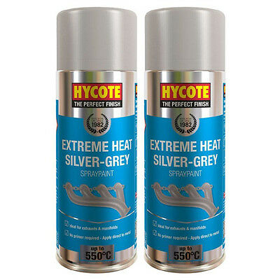 Hycote Very High Temperature Silver Grey 2 Spray Cans Paint 400ml