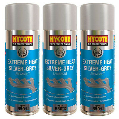 Hycote Very High Temperature Silver Grey 3 Spray Cans Paint 400ml