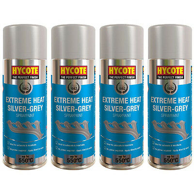 Hycote Very High Temperature Silver Grey 4 Spray Cans Paint 400ml