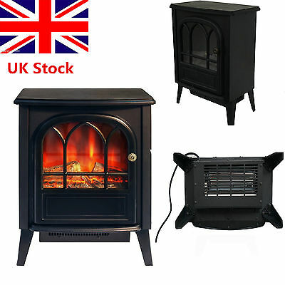1850W Log Burning Flame Electric Fire Heater Effect Stove Fireplace Standing UK