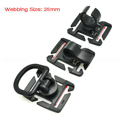 MOLLE Rotation Sternum Strap Tube Pipe Clip Holder Buckle Webbing 25mm Black