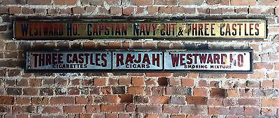 Two Antique Shop Signs Haberdashery Glass Tobacconist Signage Pair Advertising