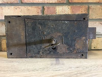 A Reclaimed Antique/vintage Very Large Solid Door/church Lock & Key Working.31Cm