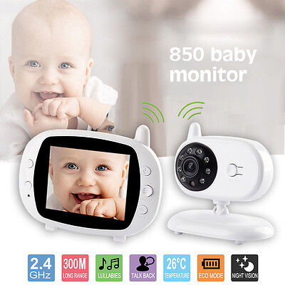 """3.5"""" HD Video Wireless Baby Camera Monitor 2.4GHz Night Vision Security Viewer"""