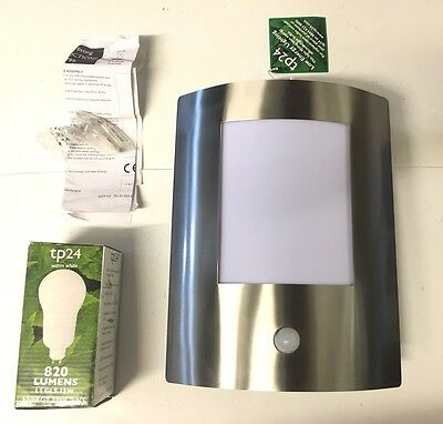 Modern Outdoor PIR Wall Light IP44 15W Lamp Included TP24 MUSCAT TP2799 S/Steel