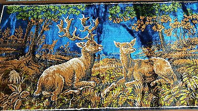 Tapestry | Stag & Deer in a Woodland Setting | Excellent Condition | Embroidery